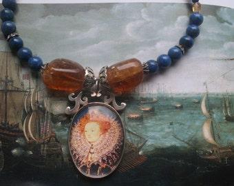 Tudor jewellery, Elizabeth 1st jewelry, Elizabeth 1st necklace, Elizabethan jewelry, Elizabeth 1st, Tudor necklace, portrait pendant, ooak,