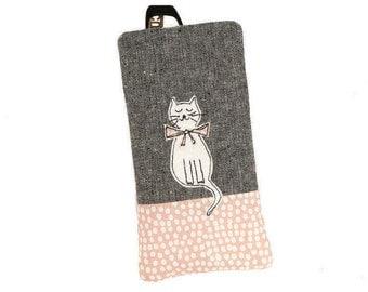Soft glasses case, Eyeglasses pouch, Cat glasses case, Reading glasses case, Sunglasses case, Eyeglasses case, Spectacle case, Cat, Cat gift