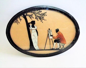 Vintage Silhouettes on Glass, Reverse Painting, Vintage Painting, Wall Picture, Painting on Glass, Art gift