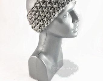 Gray Crochet Headband, Chunky Silver Ear Warmer, Platinum Head Wrap, Grey Knit Winter Headband, Head Warmer,