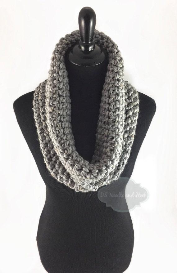 Gray Tweed Crochet Scarf, Crochet Cowl, Grey Infinity Scarf, Light Gray Tweed Neck Warmer, Handmade Crochet Scarf, Crochet Snood Scarf