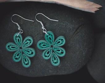 Green filigree earrings/ Quilling earrings/ green tear drop earrings/ green paper earrings/ green earrings/ dangle earrings/ light weight