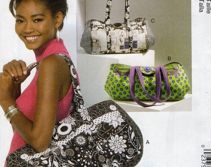 McCall's 7102 Free Us Ship Purse Tote Hand Handbag Gym Bag New Uncut Out of Print 2015 Craft Sewing Pattern