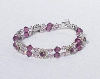 Swarovski amethyst crystal and silver bracelet