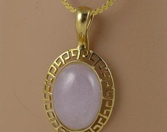 Gold Jade Necklace, Vintage Gold Lavender Jade Necklace, Greek Key Pendant Necklace