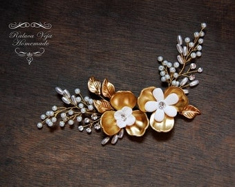 Golden flowers and pearls hair accessory - Bridal Hair Piece