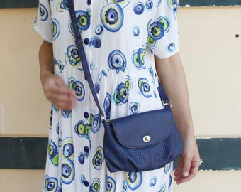 Vintage blue beautiful  leather crossbody bag,purse.