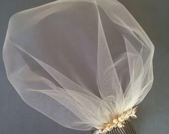 Tulle Birdcage Veil, Bridal Fascinator, Wedding Headdress, Bridal Hair piece, Gold Hair Comb, Blusher Veil, Champagne Ivory Blush Veil