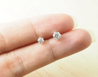 4 mm Cubic Zirconia Hexagonal Stud Earrings, 925 Sterling Silver, Dainty earrings, Tiny stud earrings - SA134-135