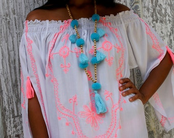 Tassel necklaces/Pompom necklaces/Trendy tassels necklaces/Bohemian necklaces * PIPAS NECKLACES