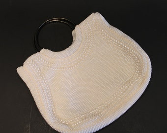 Vintage White Pearl Handbag - Faux Pearl Bag - Pearl Purse - Free Shipping Within Canada and the USA