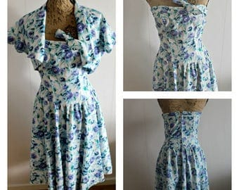 Vintage 1950s floral dress women, Cotton, Full skirt, Floral, summerdress, sleeveless, 50s dress, Floral dress, small, 50s dress,