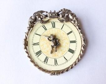 Unique Roman gold tone clock brooch | Rare clock pin | Roman numeral brooch |