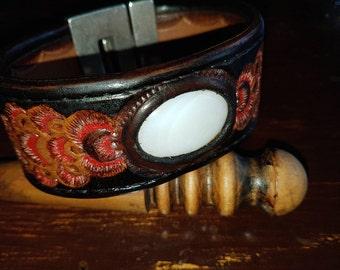 Harness leather bracelets with gem