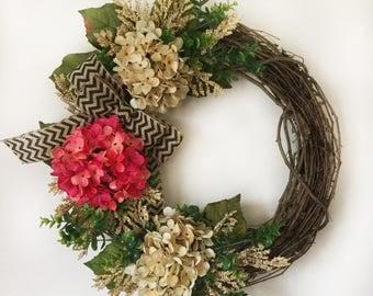 Pink and Cream Hydrangea Wreath - Spring Wreath, Mother's Day Wreath, Summer Hydrangea Wreath, Year Round Wreath, Boxwood Hydrangea Wreath