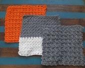 Crochet Cotton Washcloths Sampler Set of 3 - Gray, White, Orange
