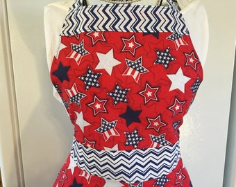 Women's Full Apron, Patriotic Apron, Stars and Stripes, Red, White, Blue, 4th of July