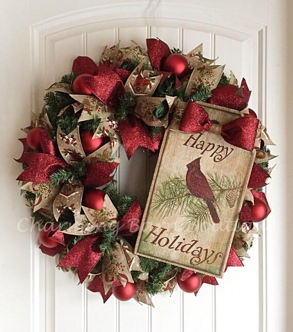 Holiday Wreath Christmas Wreath Cardinal Wreath Christmas