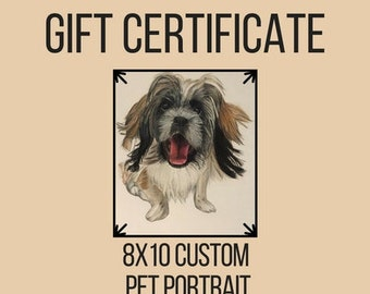Pet Portrait Gift Card (8x10), Custom Pet Portrait, Custom Dog Portrait, Dog Portrait, Pet Portrait, Pet Portrait Custom