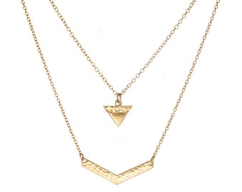 Double chain, triangle necklace, arrowhead bracelet, Bridal Necklace,gold Necklace / Silver Necklace,Women's Gift for Her, Everyday Necklace