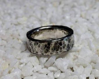 "Original heavy wedding ring, handmade, Sterling Silver, 7 mm (0.25"") - US size"
