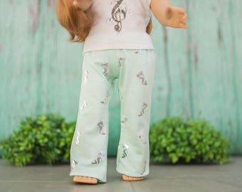 Aqua Blue Mermaid Printed Pajama Pants for 18 Inch Dolls - PJ pants - PJs - Mermaid clothes for dolls - handmade doll clothes