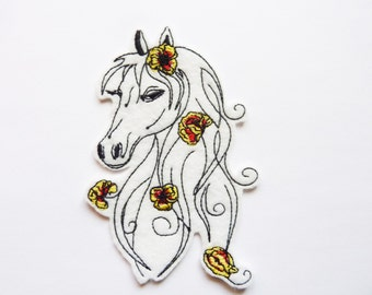 Horse head patch embroidered applique.