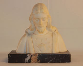 Antique Sacred Heart Jesus Marble Bust