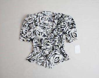 peplum top | black & white blouse | rose print blouse