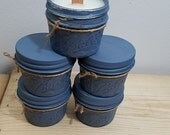Clean Cotton Candle. Mason Jar Candle Set. Blue Painted Mason Jars. Wood Wick Candle. Hand Poured Candle