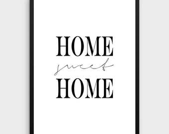 Home Sweet Home Print | Home Decor, Black and White Wall Art, Watercolor Art, Affiche Scandinave, Typography Printable, Home Poster, Gift