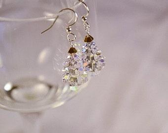 Swarovski Crystal Iridescent Tree Earrings, Christmas Tree Earrings, Holiday Tree Earrings, Gifts for Her, Seasonal Trees