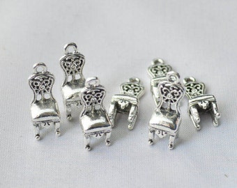 5 Pcs Chair Charms Antique Silver Tone 3D 25x13mm - YD1806