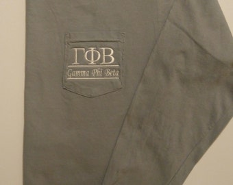 Long Sleeve Greek Shirt, Gamma Phi Beta, Gamma Tee Shirt, Sorority T Shirt, Pocket T Shirt, Monogrammed Pocket Tee, Personalized Tee Shirt