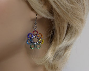 Flower Rainbow earrings, Chainmaille