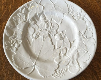 White Italian Embossed Stoneware Pottery Plate Flowers Berries Leaves Pattern Wall Decor