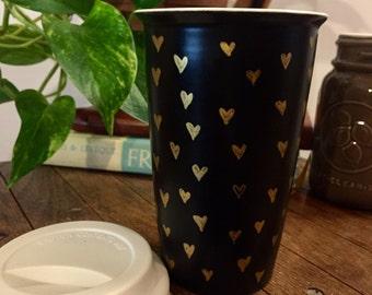 Gold Hearts Mug. Travel Mug. Black Mug. Coffee Cup. Hand Drawn Design. 12 oz Mug.