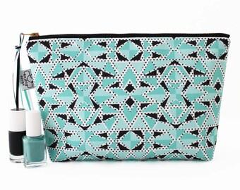 Large mint make up bag, Large cosmetic bag with an original ANJESY design