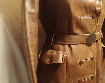 Magnificent military style real soft brown leather coat