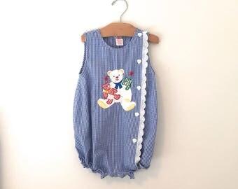 Vintage 90's Girl's Blue Gingham Teddy Bear Romper, Girl's Vintage Blue Gingham Bubble Suit, Size 4T