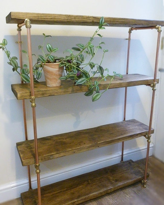 industrial copper pipe shelving unit from reclaimed wood. Black Bedroom Furniture Sets. Home Design Ideas