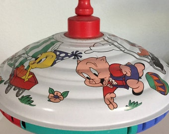 Vintage 1992 Spinning Top Toy Warner Bros. Looney Tunes Cartoons Painted Metal