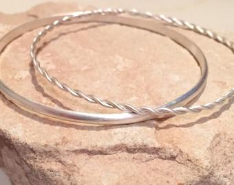 Sterling silver bangle bracelets, twisted bangle bracelet, half-round bangle bracelet, stackable sterling silver bracelet, stackable bangle