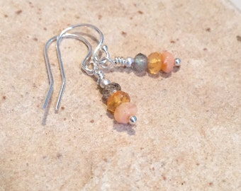 Fire opal earrings, labradorite drop earrings, sterling silver earrings, fire opal dangle earrings, sundance style earrings, drop earrings