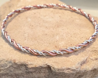 Sterling silver and copper bangle bracelet, twisted bangle bracelet, stackable silver and copper bracelet, stackable bangle, gift for her