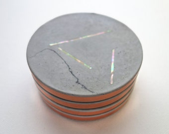 Cement Coasters, Round, with Iridescent Mother-of-Pearl Inlay and Copper Trim, Cork Backing