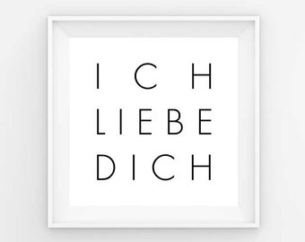 I love you, Ich Liebe Dich, Love printable, Love decor, Couples gift, Couples decor, Downloadable art