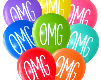 OMG Balloons - 8 Pack | Bachelorette Birthday Bridal Shower Baby Shower Surprise Party Engagement Emoji Party Decorations SMS Graduation