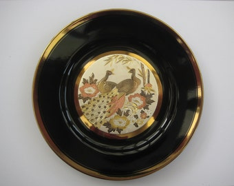 Vintage Japanese art of choking large black decorative plate, peacocks, 24KT Gold