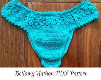 "Crochet Bikini Bottom Pattern, ""Tigerlily"" Crochet Brazilian Style Bottom Size XS to L"